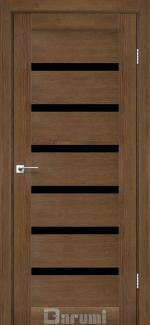 Межкомнатные двери Vela Дарумі горіх роял скло чорне