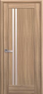 Межкомнатные двери Делла Новый Стиль дуб золотой делюкс стекло Сатин