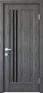 Межкомнатные двери Делла Новый Стиль грей делюкс New стекло черное