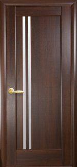 Двери Делла Новый Стиль каштан Делюкс со стеклом Сатин