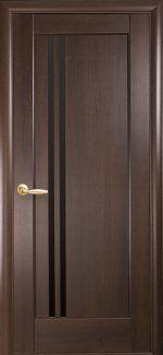 Межкомнатные двери Делла Новий Стиль каштан делюкс скло чорне