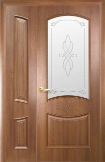 Двери полуторные Донна Новый Стиль золотая ольха Делюкс глухое + стекло Р1