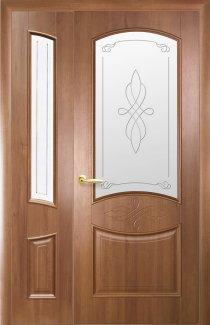 Двери полуторные Донна Новый Стиль золотая ольха Делюкс стекло Р1 + стекло Р1