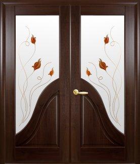 Двери двустворчатые Амата Новый Стиль каштан Делюкс со стеклом Р1
