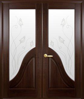 Двери двустворчатые Амата Новый Стиль каштан Делюкс со стеклом Р2