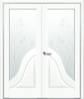 Двери двустворчатые Амата Новый Стиль белый мат Премиум со стеклом Р2