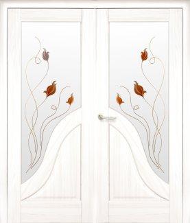 Двери двустворчатые Амата Новый Стиль ясень Делюкс со стеклом Р1