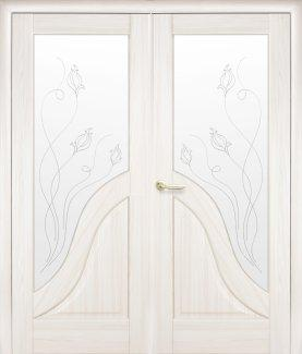 Двери двустворчатые Амата Новый Стиль ясень Делюкс со стеклом Р2