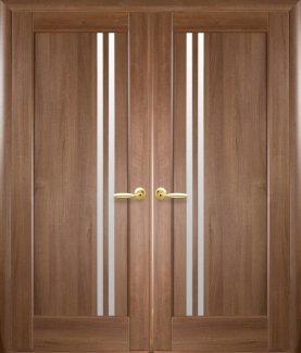 Двері Новий Стиль Делла золота вільха делюкс скло Сатін
