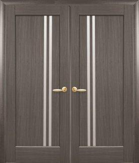 Двери Новый Стиль двустворчатые Делла грей делюкс стекло Сатин