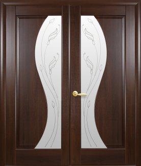 Двери двустворчатые Эскада Новый Стиль каштан Делюкс со стеклом Р2
