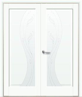 Двери двустворчатые Эскада Новый Стиль белый мат Премиум со стеклом Р2