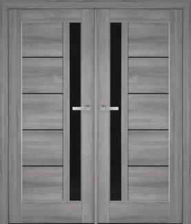 Двери Новый Стиль двустворчатые Грета Black бук пепельный делюкс стекло черное