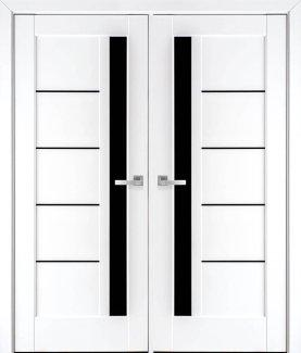 Двері Грета білий мат преміум скло чорне