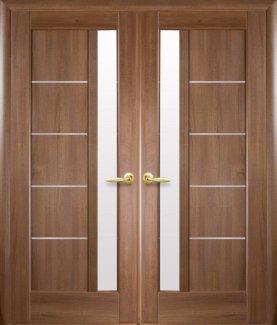Двері Новий Стиль Грета золота вільха делюкс скло Сатін