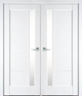 Двері Грета білий мат преміум скло Сатін