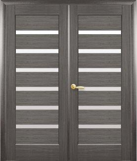 Двери двустворчатые Линнея Новый Стиль грей Делюкс со стеклом Сатин
