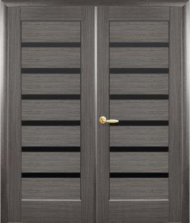 Двери двустворчатые Линнея Новый Стиль грей Делюкс стекло черное