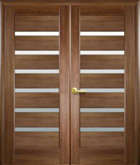 Двери двустворчатые Линнея Новый Стиль золотая ольха Делюкс со стеклом