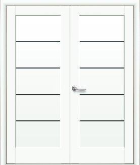 Двери двустворчатые Мира Новый Стиль белый мат Делюкс с черным стеклом