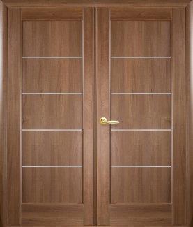 Двери двустворчатые Мира Новый Стиль золотая ольха Делюкс со стеклом Сатин