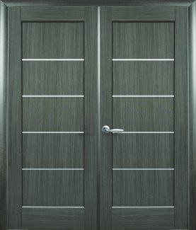 Двери двустворчатые Мира Новый Стиль грей Делюкс со стеклом Сатин