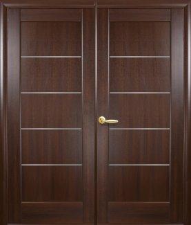 Двери двустворчатые Мира Новый Стиль каштан Делюкс со стеклом Сатин