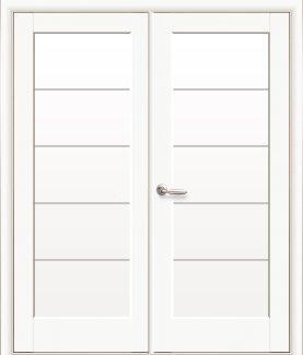 Двери двустворчатые Мира Новый Стиль белый мат Премиум со стеклом Сатин