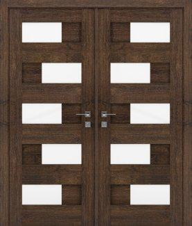 Двери двустворчатые Modern Verona акация темная полустекло