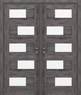 Двери двустворчатые Modern Verona дуб шале графит полустекло