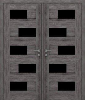 Двери двустворчатые Modern Verona дуб шале графит полустекло черное