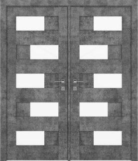 Двери двустворчатые Modern Verona серый мрамор полустекло