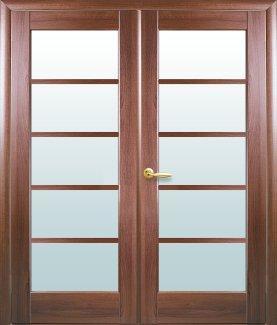 Двери двустворчатые Муза Новый Стиль золотая ольха Делюкс со стеклом Сатин
