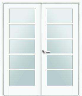 Двери двустворчатые Муза Новый Стиль белый мат Премиум со стеклом Сатин