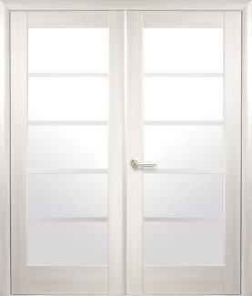 Двери двустворчатые Муза Новый Стиль ясень Делюкс со стеклом Сатин