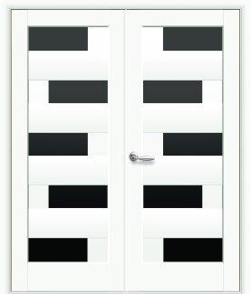 Двери двустворчатые Пиана Новый Стиль белый мат Премиум стекло черное