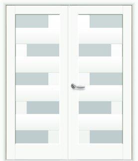 Двери двустворчатые Пиана Новый Стиль белый мат Премиум со стеклом Сатин