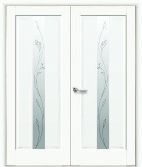 Двери полуторные Премьера Новый Стиль белый мат Премиум со стеклом Р2