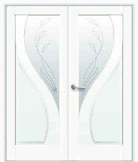 Двери двустворчатые Прима Новый Стиль белый мат Делюкс со стеклом Р2
