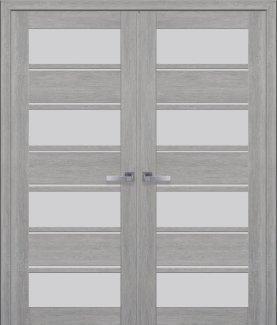 Двери Новый Стиль двустворчатые Элиза дуб дымчатый стекло Сатин