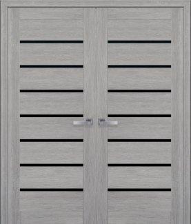 Двери Новый Стиль двустворчатые Леона Black дуб дымчатый стекло черное