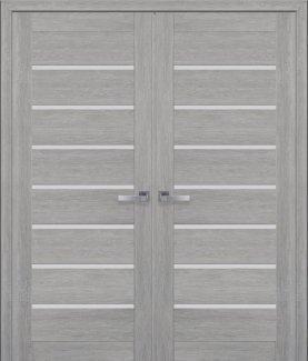 Двери Новый Стиль двустворчатые Леона дуб дымчатый стекло Сатин