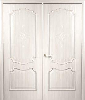 Двери двустворчатые Рока Новый Стиль ясень Делюкс глухое