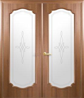 Двери двустворчатые Рока С Новый Стиль золотая ольха Делюкс со стеклом