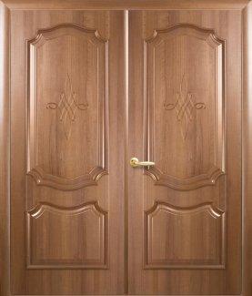 Двери двустворчатые Рока Новый Стиль золотая ольха Делюкс глухое