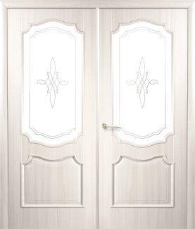 Двери двустворчатые Рока Новый Стиль ясень Делюкс со стеклом Р1