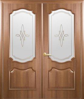Двери двустворчатые Рока Новый Стиль золотая ольха Делюкс со стеклом