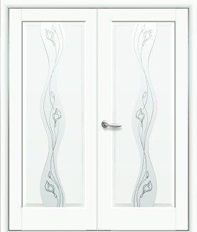 Двери двустворчатые Волна Новый Стиль белый мат Премиум со стеклом Р2