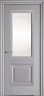 Межкомнатные двери Имидж Новый Стиль серая пастель премиум с молдингом и со стеклом Р2
