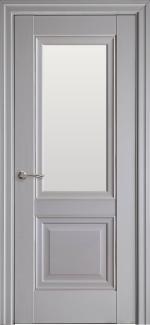 Межкомнатные двери Имидж Новый Стиль серая пастель премиум без молдинга со стеклом Сатин